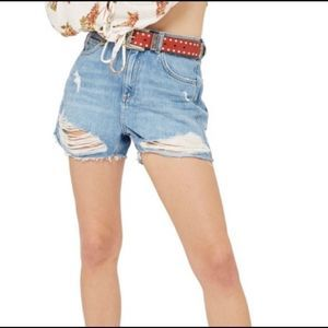 Topshop Moto Distressed Mom High Rise Jean Shorts